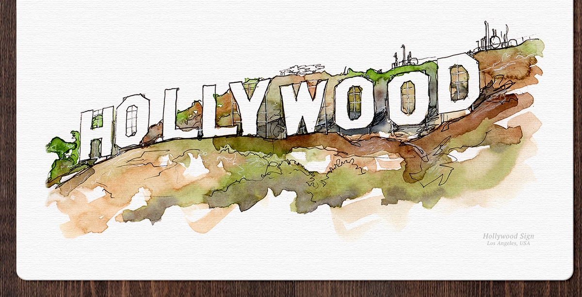 08-Hollywood-Sign-Us-Mucahit-Gayiran-Architectural-Landmarks-Watercolor-Paintings-www-designstack-co