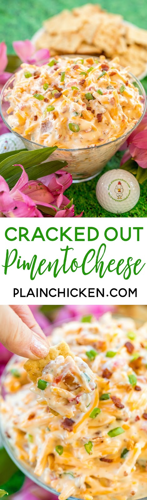 Cracked Out Pimento Cheese - pimento cheese loaded with cheddar, bacon and ranch! Dangerously delicious!! Great as a dip or on a sandwich. Cheddar cheese, pimentos, mayonnaise, ranch dressing mix, bacon, green onions. So simple and it tastes AMAZING! Perfect for watching The Masters golf tournament! #crack #pimentocheese #cheese #themasters #dip