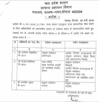 Madhya Pradesh IAS Transfer List  : दो अपर मुख्य सचिव पांच प्रमुख सचिव और दो संभागीय आयुक्तों  का  स्थान तरण