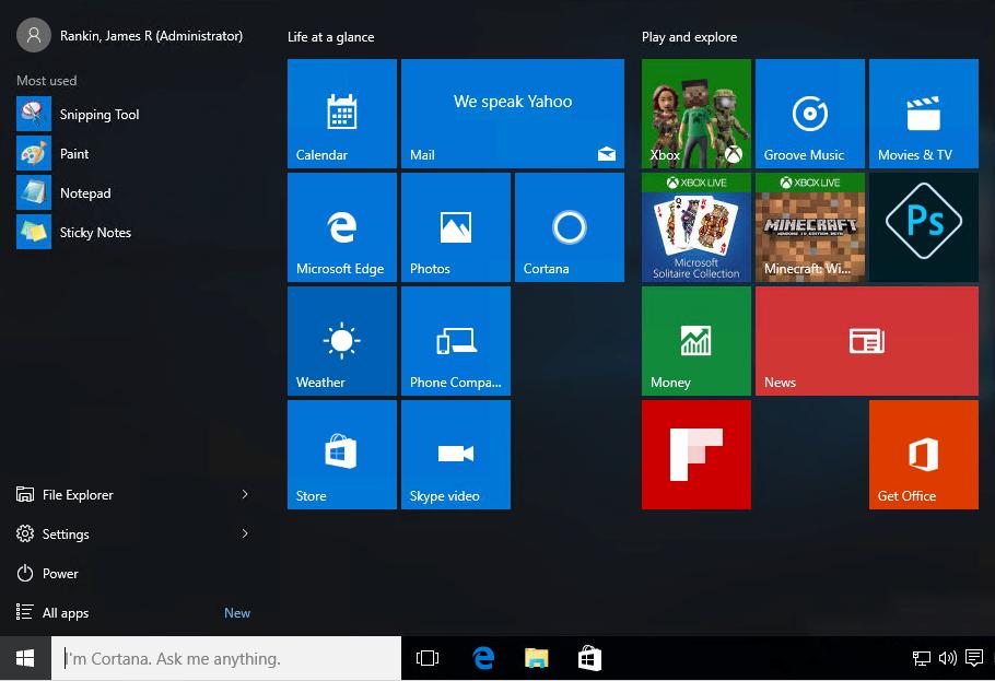 Windows 10 part #6 - roaming the Windows 10 Start Tile settings