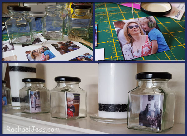 creating picture frames from jam jars