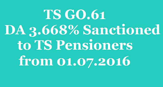 TS GO.61, DA 3.668%,TS Pensioners