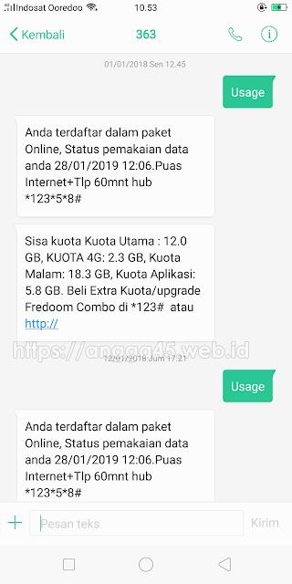 Cara Cek Kuota Indosat Menggunakan SMS