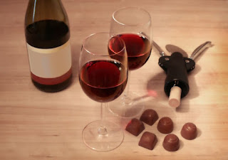 Wine and dark chocolate