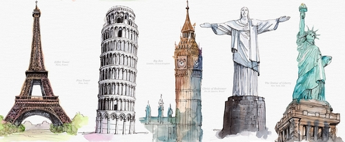00-Mucahit-Gayiran-Architectural-Landmarks-Watercolor-Paintings-www-designstack-co
