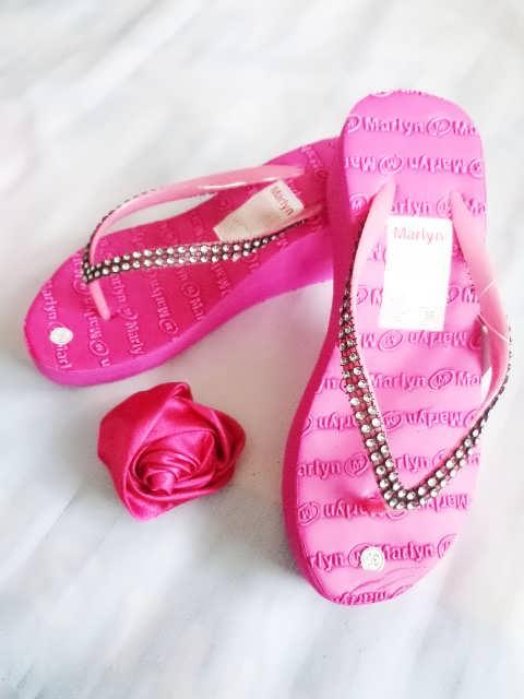 sandal Spon hak tinggi marlyn mute pink