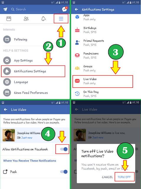 Cara Mematikan Pemberitahuan Video Siaran Langsung Facebook Melalui Ponsel (Aplikasi Android Facebook)