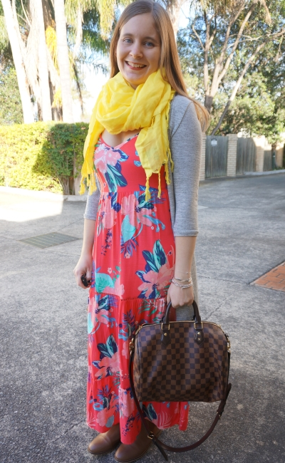 tropical coral floral maxi dress in winter: yellow scarf, cardigan, ankle boots, LV speedy | AwayFromBlue