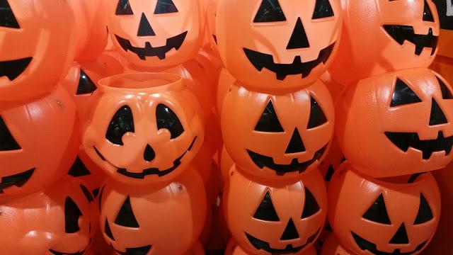 Orange colored piled plastic set of Halloween pumpkins