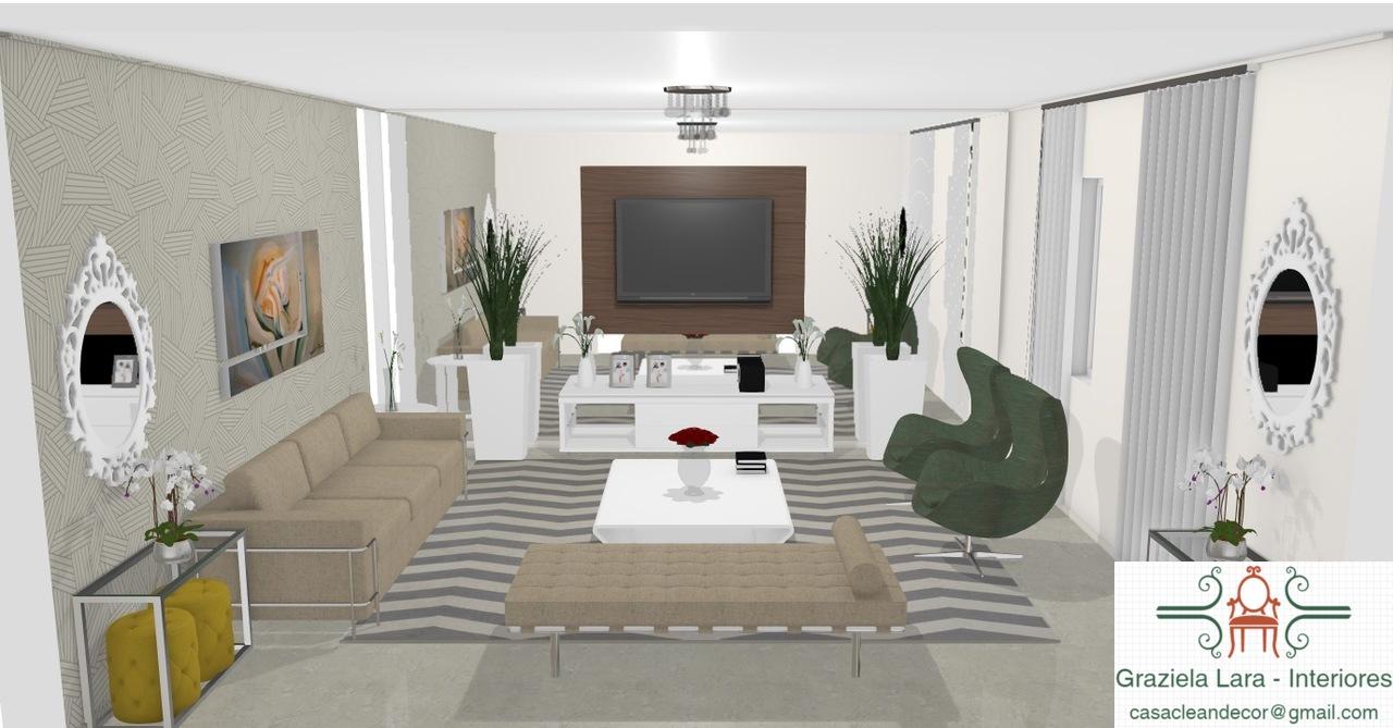 Construindo Minha Casa Clean Sala De Estar Com Tv Modernas  -> Sala De Tv Com Duas Janelas