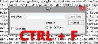 Fungsi kombinasi Tombol CTRL + F, pencari kata dengan cepat