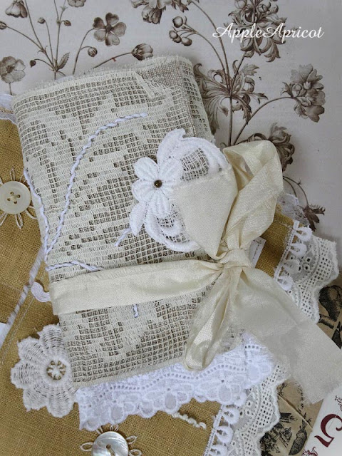 fabric and lace journal wrap by AppleApricot