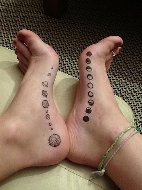 Cute Solar System Tattoo on Foot