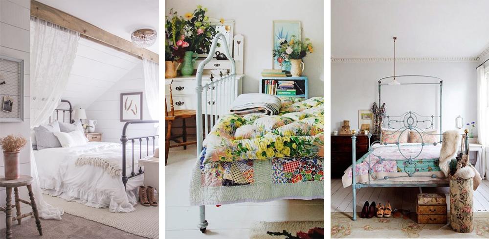 como decorar dormitorio al estilo vintage con cabecero de forma y textiles de crochet