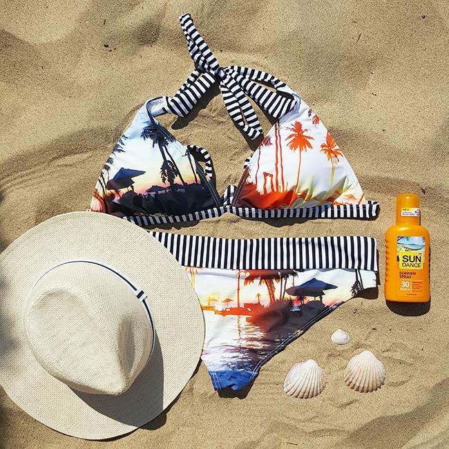 Zalando, Twintip Performance, Vero Moda, bikini, strawhat, Strohhut, beach, Strand, playa
