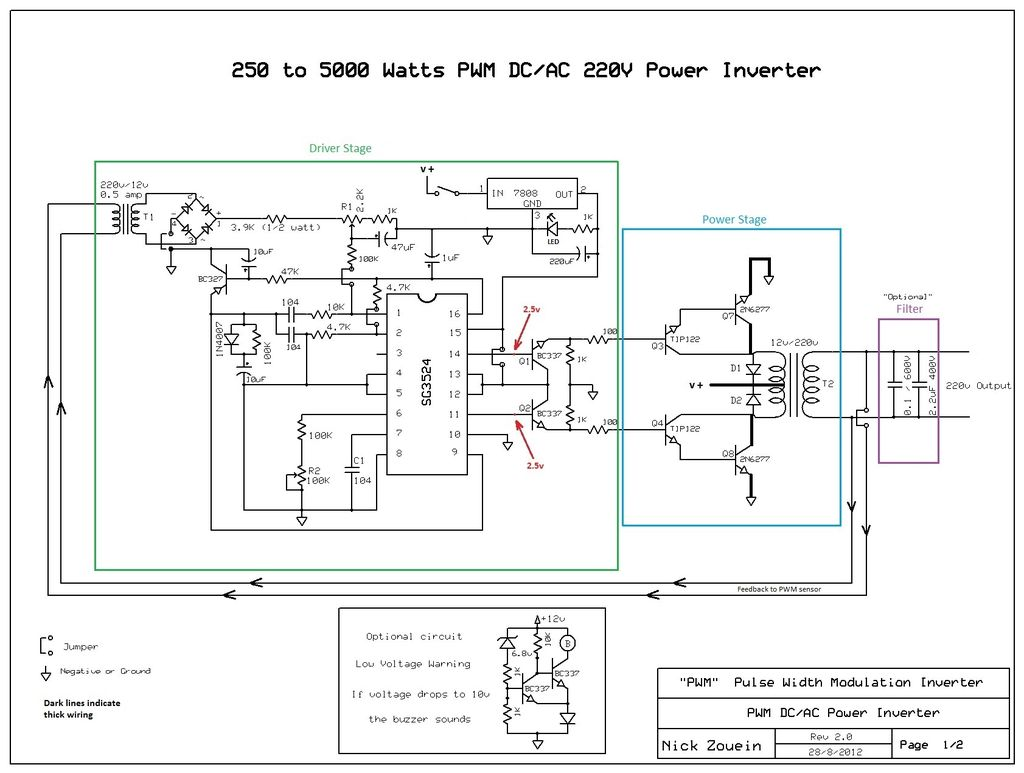 Build A 250 To 5000 Watts Pwm Dc Ac 220v Power Inverter Electronic 12v Schematic Wiring