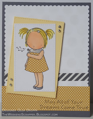 Yellow and grey card using MFT Make a Wish PI stamp; mftstamps; paper piercing