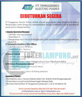 Bursa Kerja Lampung Terbaru Oktober 2016 Dari PT. TANGGAMUS ELECTRIC POWER