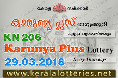 Kerala Lottery Results 29-Mar-2018 Karunya Plus KN-206 Lottery Result