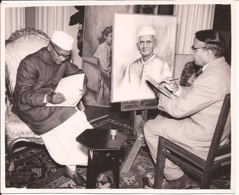An Artist is Painting a Portrait of Second Prime Minister of India Lal Bahadur Shastri - 1965