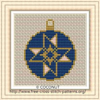 Mini Christmas Ornament 9, Free and easy printable cross stitch pattern