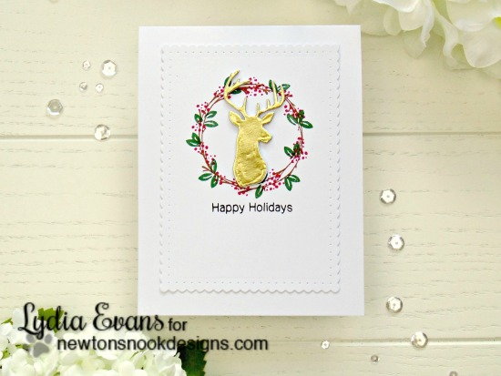 Happy Holidays Card by Lydia Evans | Happy Little thoughts Stamp set and Splendid Stags Die set by Newton's Nook Designs #newtonsnook