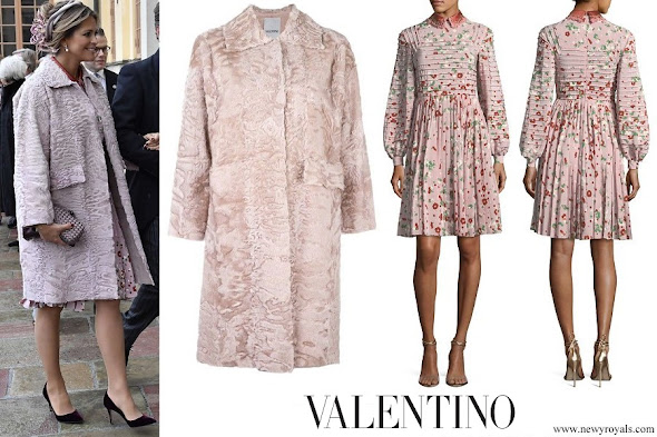 Princess Madeleine wore VALENTINO Collar coat and Long-Sleeve Floral-Print Silk Dress