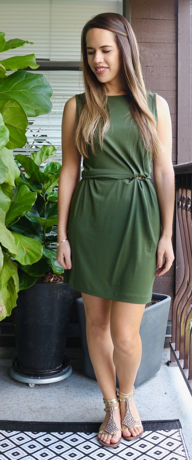 Jules in Flats - Olive Green Twist-Front Jersey Dress