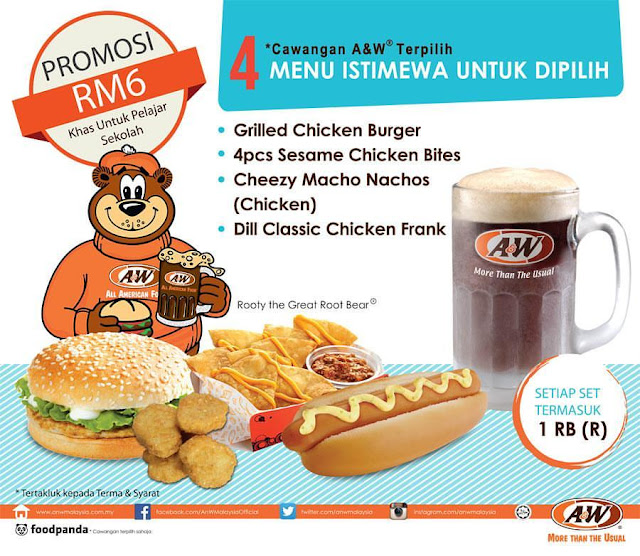 A&W Malaysia RM6 Student Promotion Special Menu