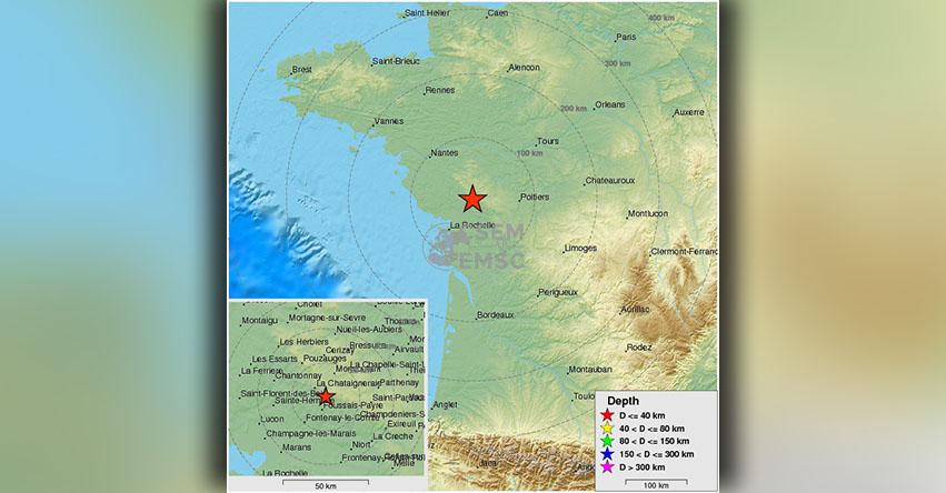 TEMBLOR EN FRANCIA: Sismo de magnitud 4.8 (Hoy Lunes 12 Febrero 2018) Temblor Epicentro Poitiers - Nueva Aquitania - CSEM