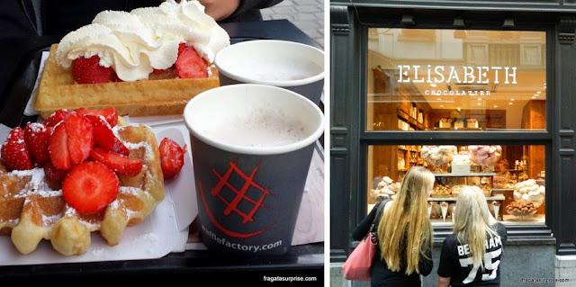 Comer em Bruxelas - wafel e chocolate