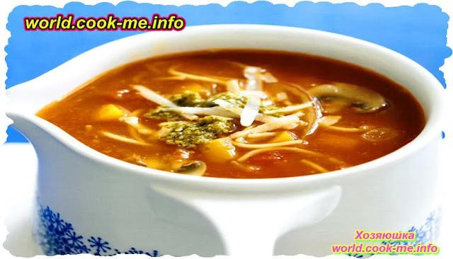 Суп со спагетти и грибами