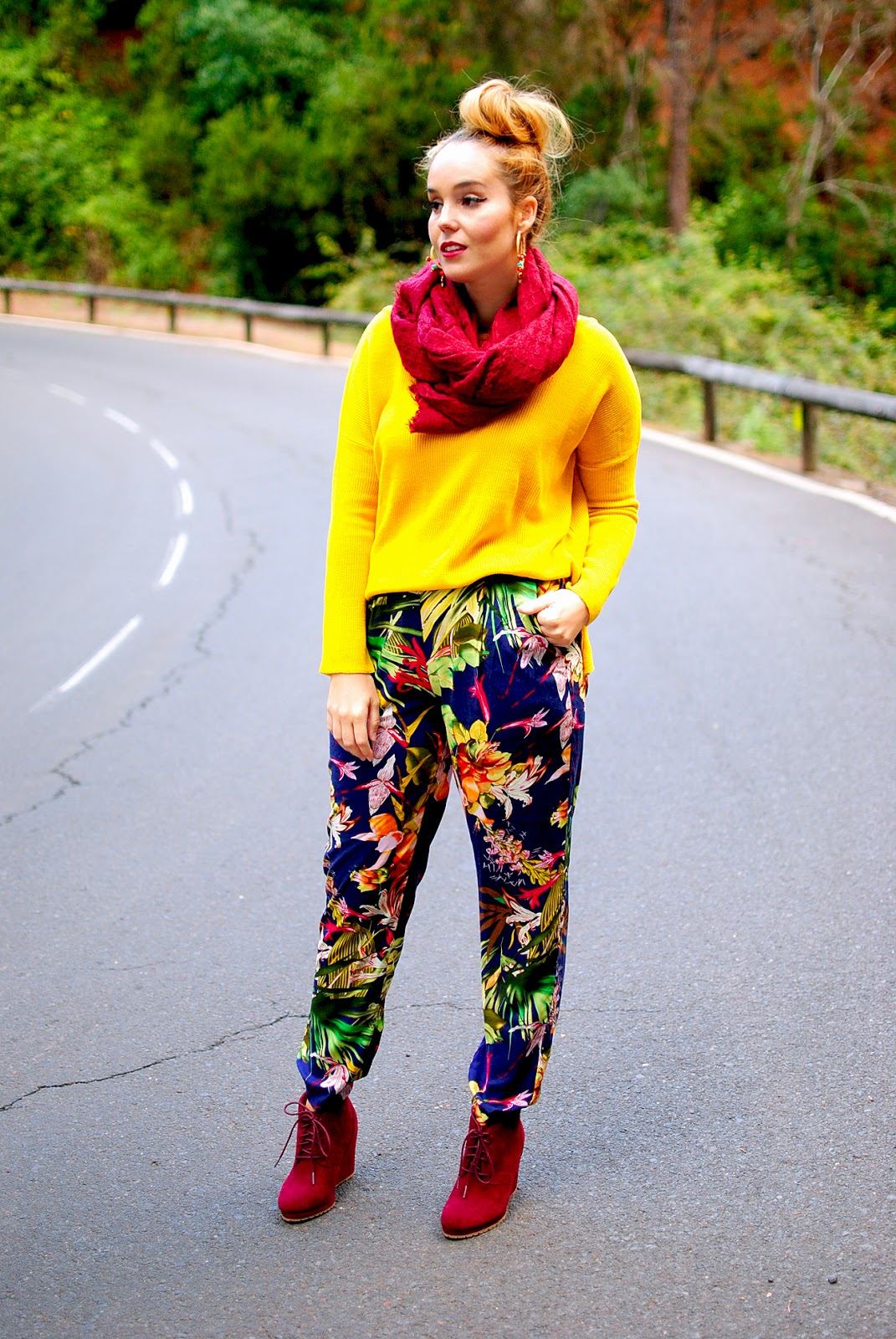 ax paris, harem pants, baggy pants, nery hdez, tropical print, scarf
