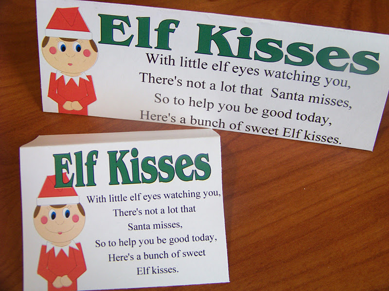 graphic relating to Elf Kisses Printable identified as Do-it-yourself Occasion Mother: Elf Kisses Bag Topper Printable