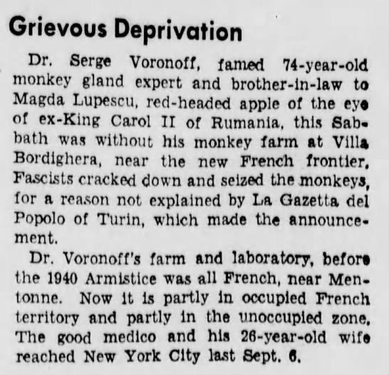 2 February 1941 worldwartwo.filminspector.com Dr. Voronoff