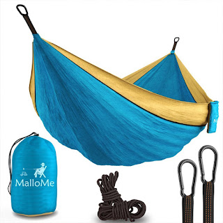 "MalloMe XL Double Parachute Camping Hammock - Tree Portable with Max 1000 lbs Breaking Capacity - Lightweight Carabiners and Ropes Included For Backpacking, Camping, Hiking, Travel, Beach, Yard, 125"" x 79"""