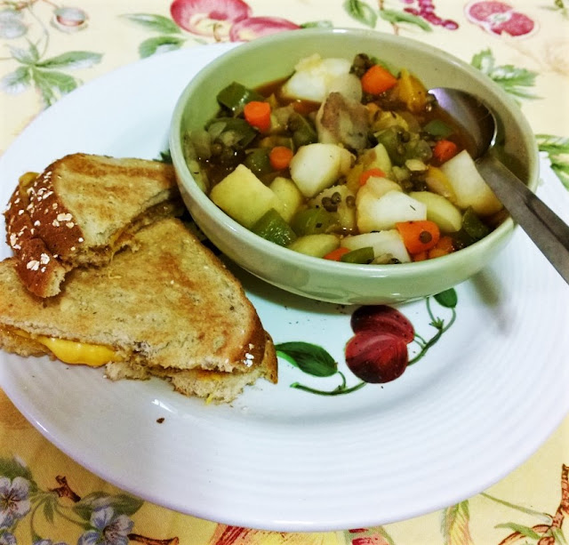 Lentil Stew with grilled cheese