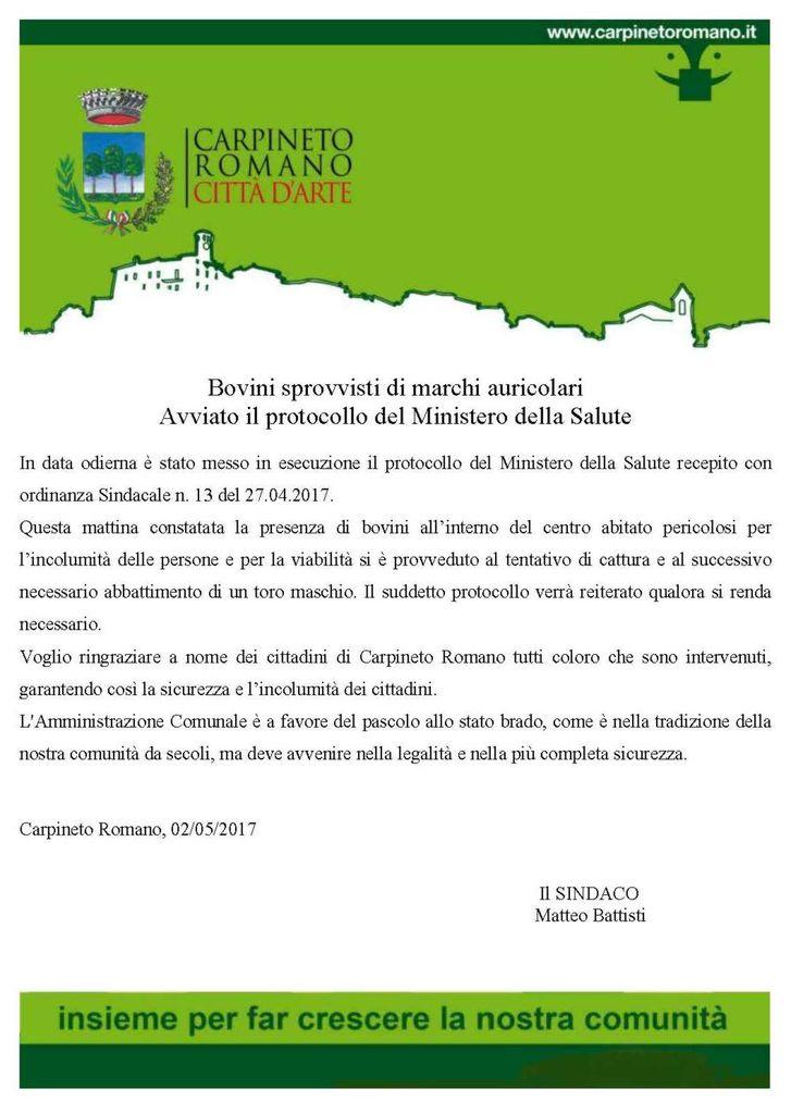 113359617780d Una nota del Comune di Carpineto Romano informa che in data odierna è stato  messo in esecuzione il protocollo del Ministero della Salute recepito con  ...
