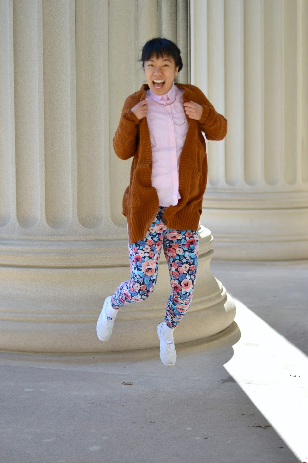 college style, spring outfit, floral leggings, jump shot