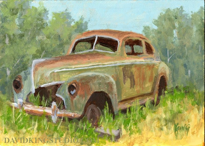 art painting car Mercury abandoned rust rusty derelict