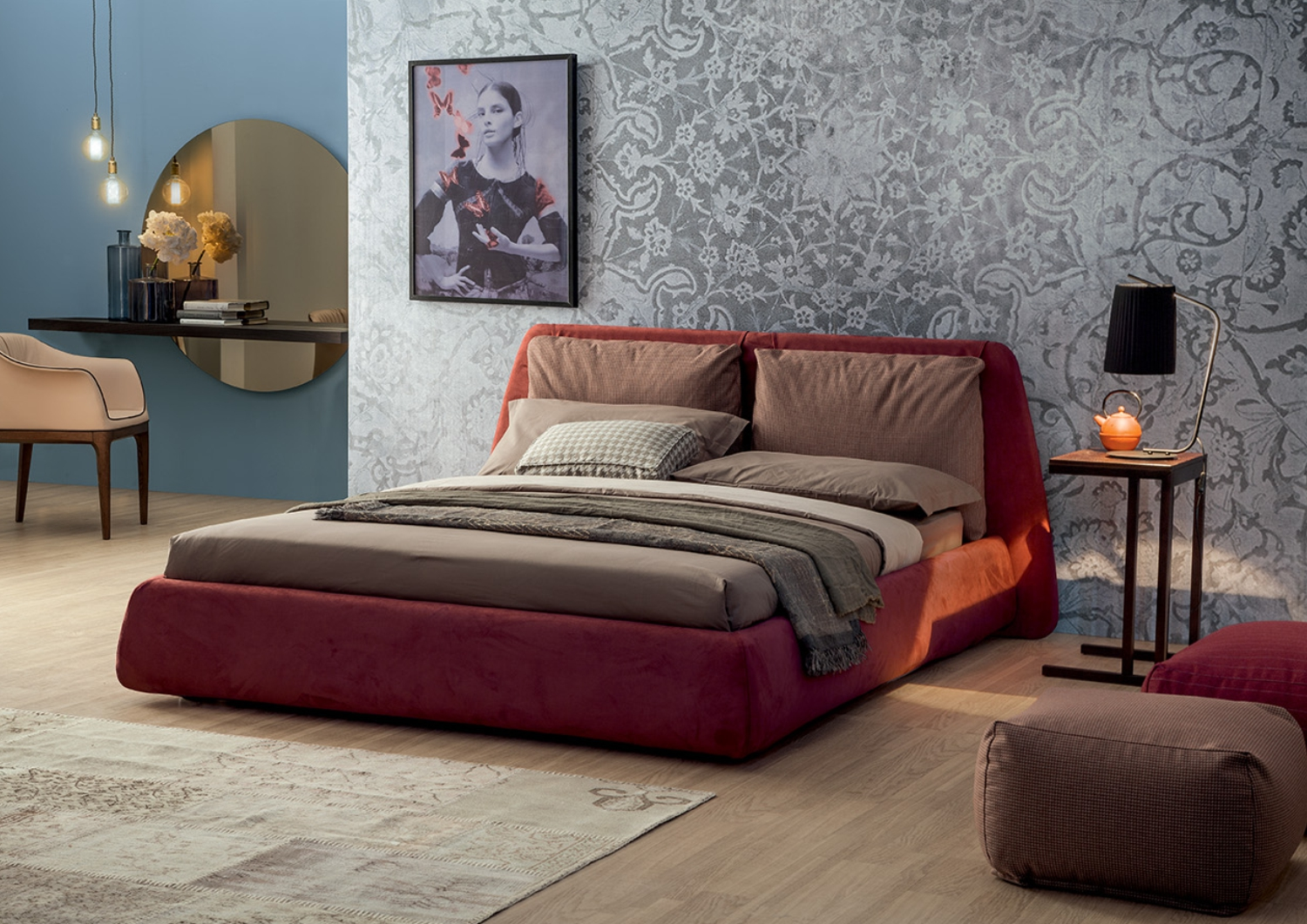 Superb Red upholstered Dharma bed by Tonin Casa