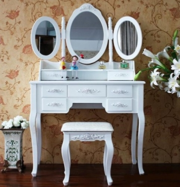 white small makeup vanity table with stool and storage, vanity dressing table set