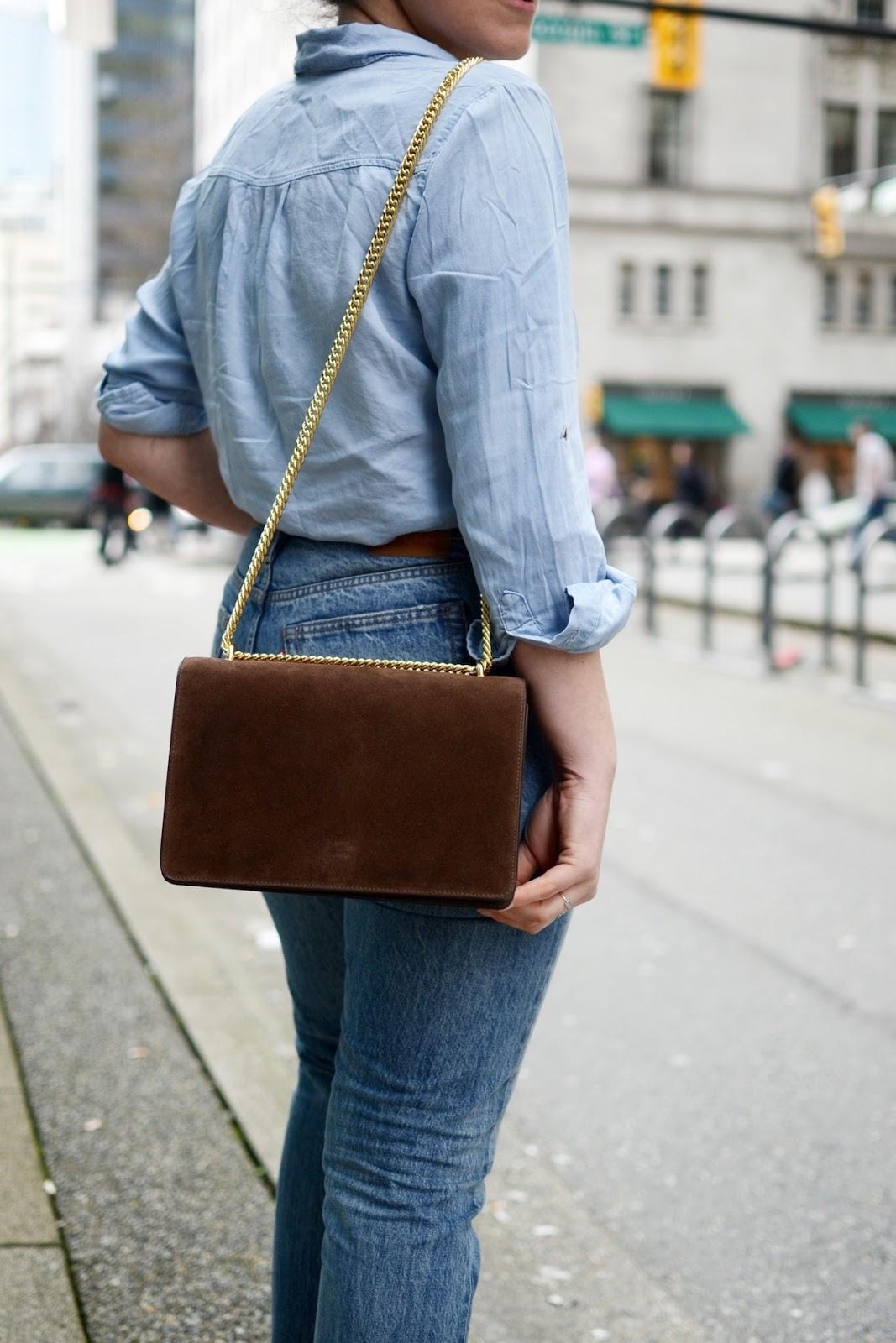 Denim outfit levis wedgie jeans AGNEEL sophie bag vancouver fashion blogger 4