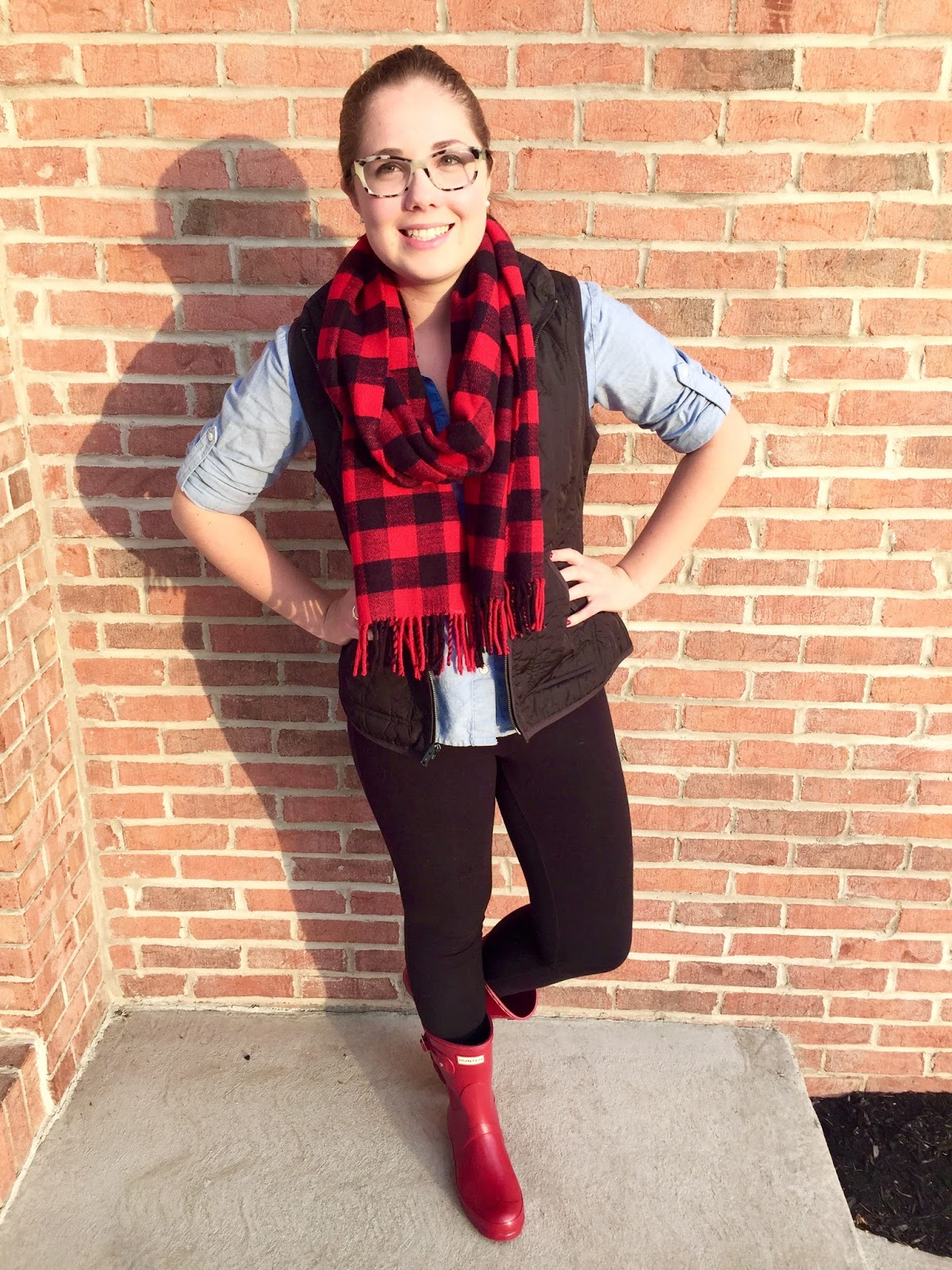 a99db925c641 Button Down: Tommy Hilfiger (similar) / Vest: Old Navy / Leggings: Aerie  (similar) / Scarf: J Crew Factory / Boots: Hunters / Earrings: Miadora