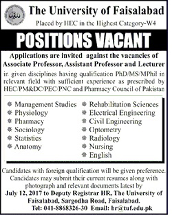 Professors, Assistant Professors, Lecturers Jobs In The University Of Faisalabad  3 July 2017