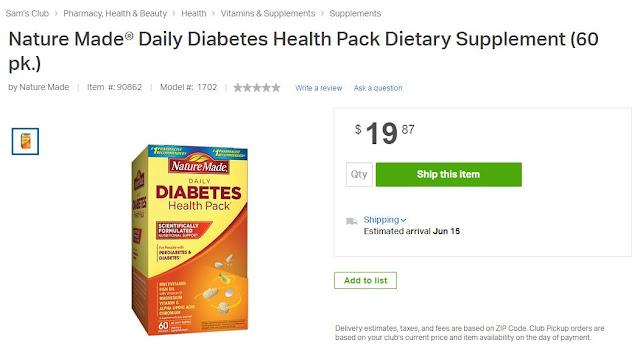 TheNature MadeⓇ Daily Diabetes Health Pack, health, diabetes, summer fun, Sam's Club