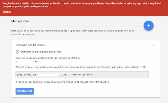 Cara Mengatasi Penghasilan Beresiko Karena Satu Atau Beberapa File Ads txt Tidak berisi ID Penayang Adsense