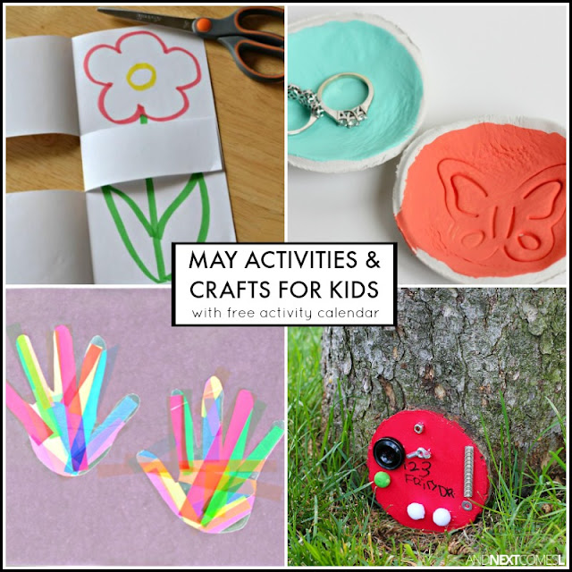 May activities & crafts for kids with free downloadable activity calendar - includes lots of spring activities and crafts as well as Mother's Day gifts from And Next Comes L
