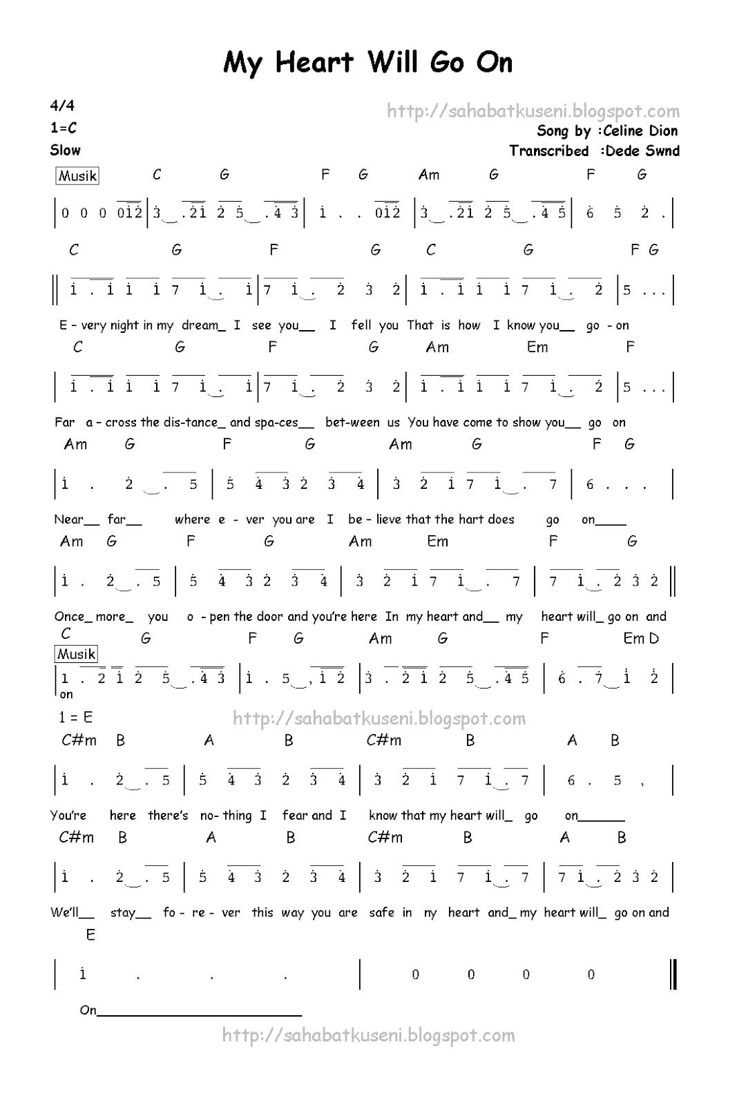 Not Pianika Lagu My Heart : pianika, heart, Angka, Heart, Berikut, Lirik, Chordnya, Celline, Sahabatku