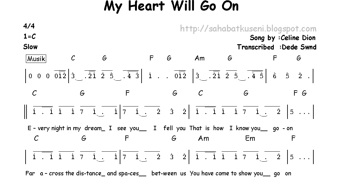 Not Angka My Heart Will Go On berikut Lirik dan Chordnya